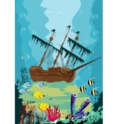 Underwater landscape with old pirate ship vector