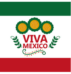 Viva mexico flag mexican flower celebration vector