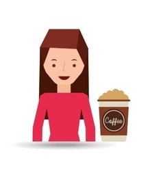 Woman cute cup coffee cream graphic vector