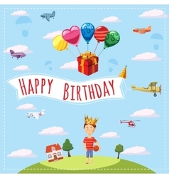 Happy birthday landscape concept cartoon style vector