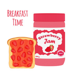 Strawberry jam in glass jar toast with jelly vector