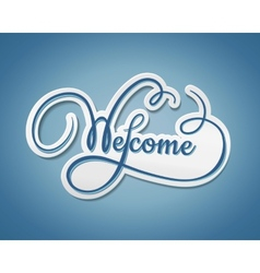 Welcome sticker with swirling text vector image