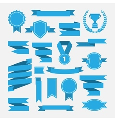Blue ribbonsmedalawardcup set isolated on white vector