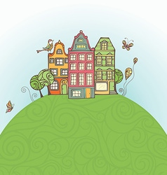 Houses on the earth vector