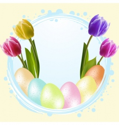 Speckled easter eggs and tulips vector
