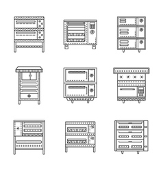 Stoves and ovens thin line icons vector