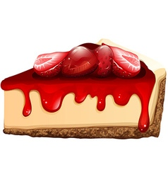 Strawberry cheesecake with jam vector