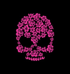 Skull of roses on a black background flower skull vector