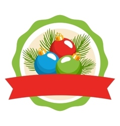 Circle Christmas Label Icon Flat with Balls and vector image