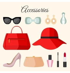 Lady fashion accessories set in flat style vector image