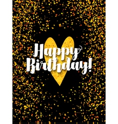 Dark happy birthday card with scattered golden gli vector