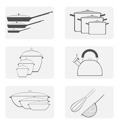 Monochrome icon set with cookware vector