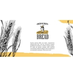 Mill wheat field ears engraving vector