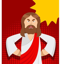 Angry Jesus Jesus is not satisfied Angered by vector image