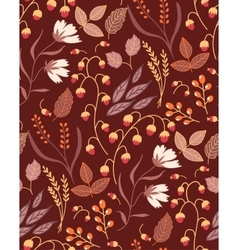 Autumn floral seamless pattern Fall autumn leaves vector image vector image