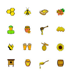 Beekeeping icons set cartoon vector