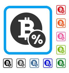 Bitcoin percent framed icon vector