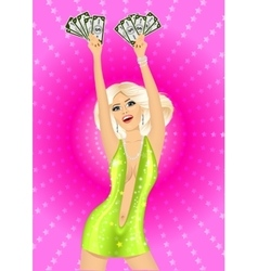 blonde dancer posing with fan of money vector image