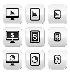 Business chart on computer tablet smartphone ve vector