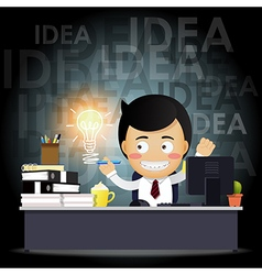 businessman working on computer with idea bulb vector image vector image