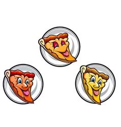 cartoon pizza symbols vector image vector image