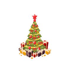christmas tree 3d flat vector image vector image