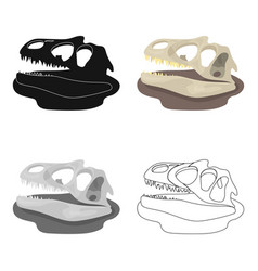 dinosaur fossils icon in cartoon style isolated on vector image vector image