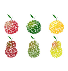 drawing of apples and pears vector image