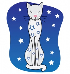 dreams white cat vector image vector image
