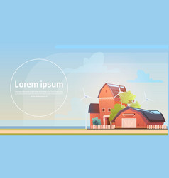 Eco farming farm house farmland countryside vector