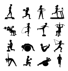Fitness men women blackicons set vector image