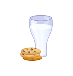 Glass of milk and cookies based product isolated vector