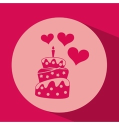 Heart red cartoon cake candle icon design vector