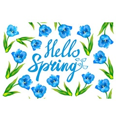 Hello spring greeting card hand drawn with wood vector