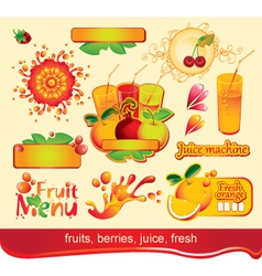 Juices fruit vector