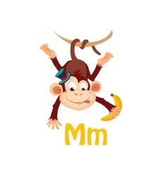 Monkey funny alphabet animal vector