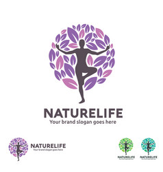 nature life yoga logo vector image