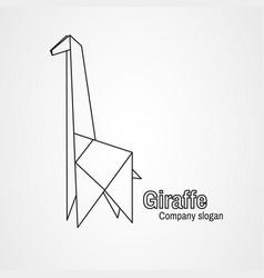 origami logo contour giraffe vector image