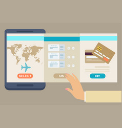 Person booking his airline flights online vector
