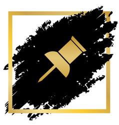 Pin push sign golden icon at black spot vector