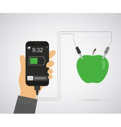 Power from apple for smartphone vector