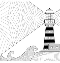 Seascape coloring book for adult anti stress vector