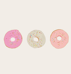 set of donut sketch vector image