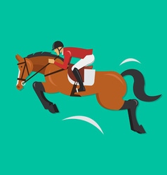 Show jumping horse with jockey equestrian sport vector