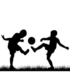 Silhouettes of children playing football vector image vector image