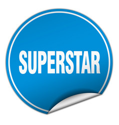 Superstar round blue sticker isolated on white vector