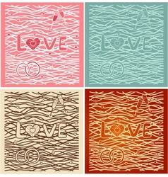 The word love in background Set of 4 cards vector image vector image