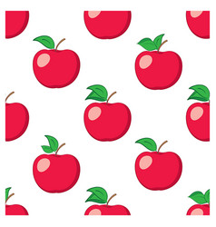 White seamless background with red apples vector