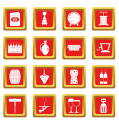 Wine icons set red vector