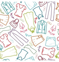 Wardrobe clothing seamless pattern background vector